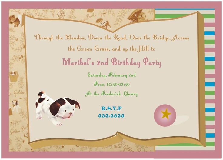 The awesome Poky Little Puppy Invitations @ HildeHauc.blogspot.com made for Maribel's birthday!!
