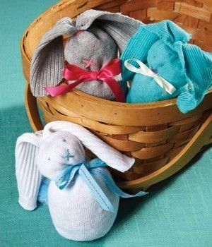 Rice+Sock+Animal   Bunnies! DIY Craft - simple sock bunnies! No sew, filled with rice!