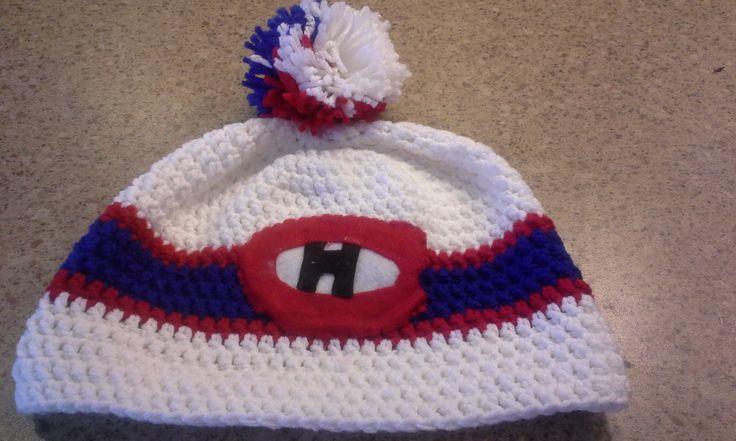 un tuque du hockey de montréal. Un tricot fait par moi-même. Détails sur mon blog http://mimiandcie.blogspot.ca/ A hockey hat did it by myself. More info on my blog.
