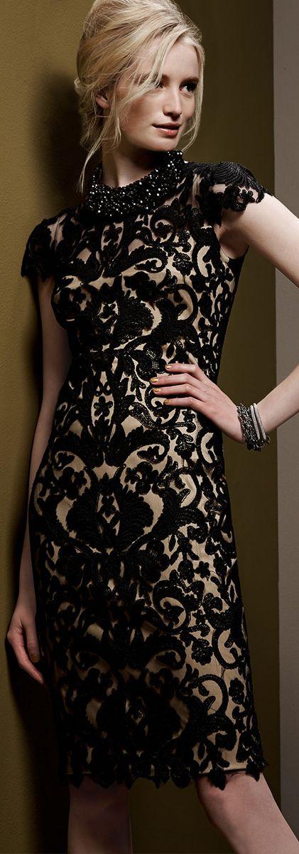 Tadashi Shoji ● Short-Sleeve Lace Overlay Cocktail Dress jaglady