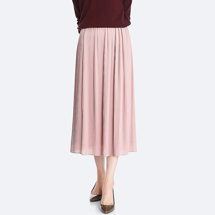 WOMEN HIGH-WAIST CHIFFON PLEATED SKIRT, PINK