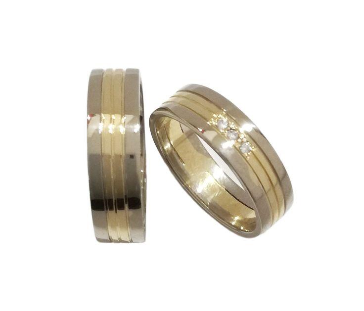 Argollas en oro de 18K combinación blanco-amarillo. Argolla dama con circones o diamantes.