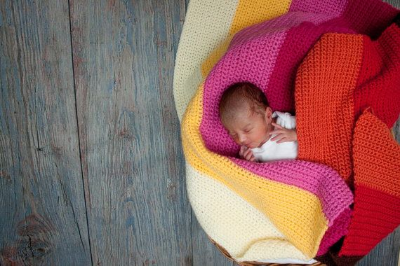 Simple Crochet Baby Blanket Pattern Color by TheSweeterSideMom