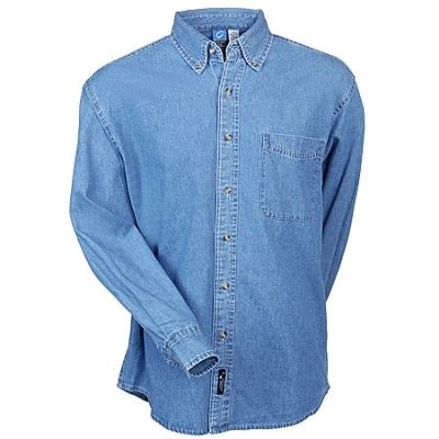 Port Authority Men's Faded Blue SP10 BLDN Cotton Denim Shirt
