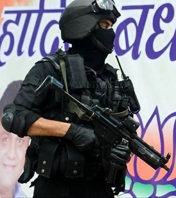 Indian National Security Guard (NSG) commando in full kit at BJP HQ.