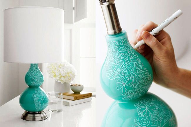 25 Fun Sharpie Crafts & Ideas - Decorative doodle lamp using a white sharpie