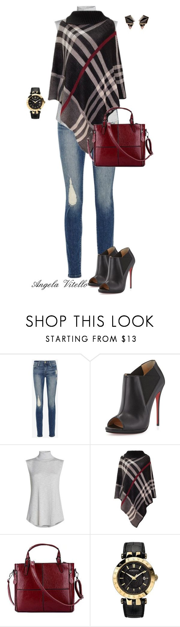 """Untitled #630"" by angela-vitello on Polyvore featuring Frame Denim, Christian Louboutin, NIC+ZOE, Versace and Nak Armstrong"