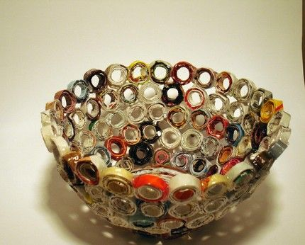 Bowl made with recycled magazines