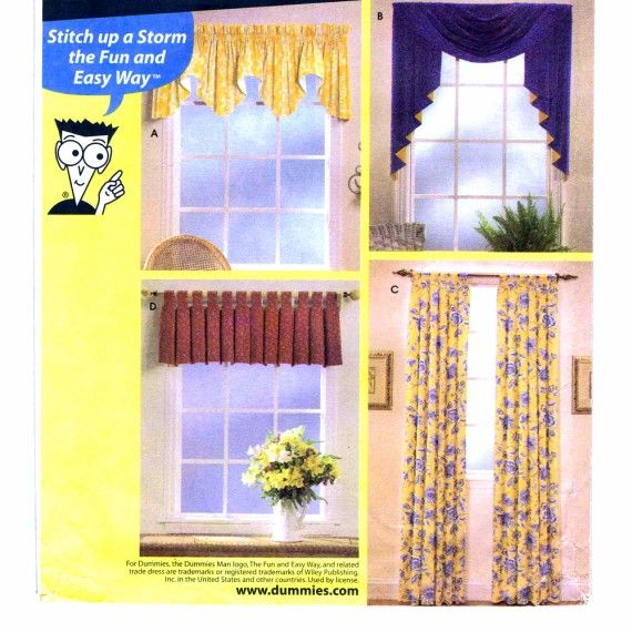 Topper Swag Jabot Window Treatments Sewing for Dummies Simplicity 9566 Home Decorating Sewing Pattern