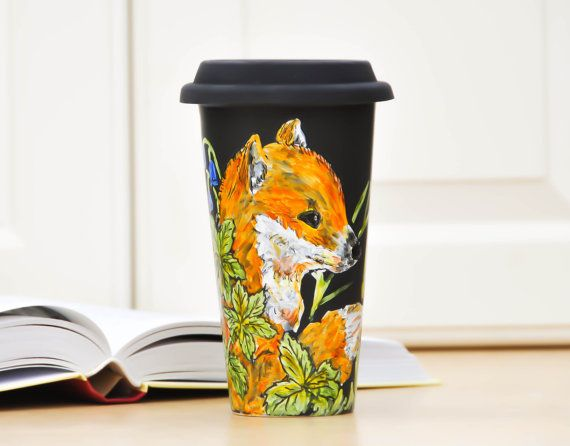 Black Ceramic Travel Mug - Hand Painted Fox and Butterfly Eco cup - Porcelain Mug with Lid - Insulated Tumbler. $45.00, via Etsy.