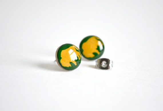 Green Olive and Yellow Ochre NDSU BIson Brook Earrings by botny, $20.00