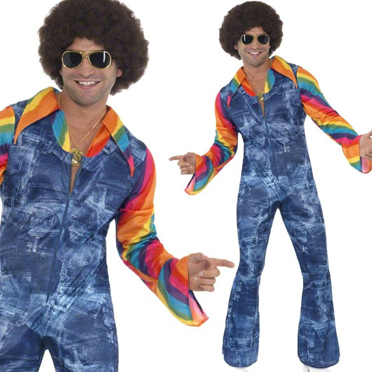 Men's 70s Disco Fancy Dress Costume – 1970s Denim Suit Shirt   eBay