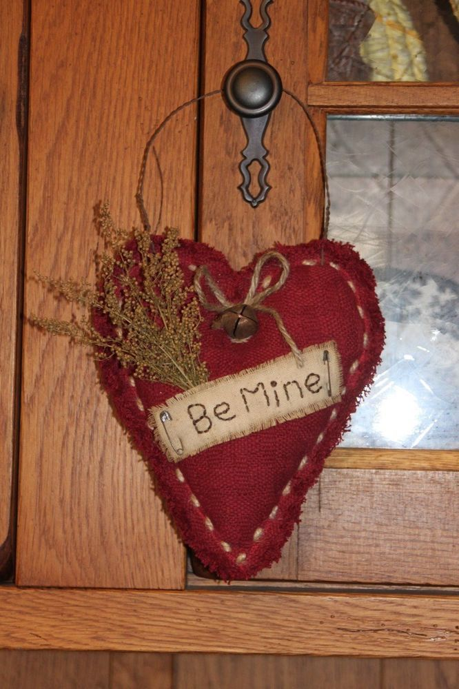 Primitive Valentine Heart Fabric Holiday Handmade Door Greeter in Antiques | eBay