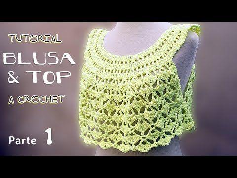 Video tutorial paso a paso para tejer una Blusa y un Top a crochet, en todas las tallas (desde 1 año hasta adultos). El video es para talle de 8 a 10 años, e...