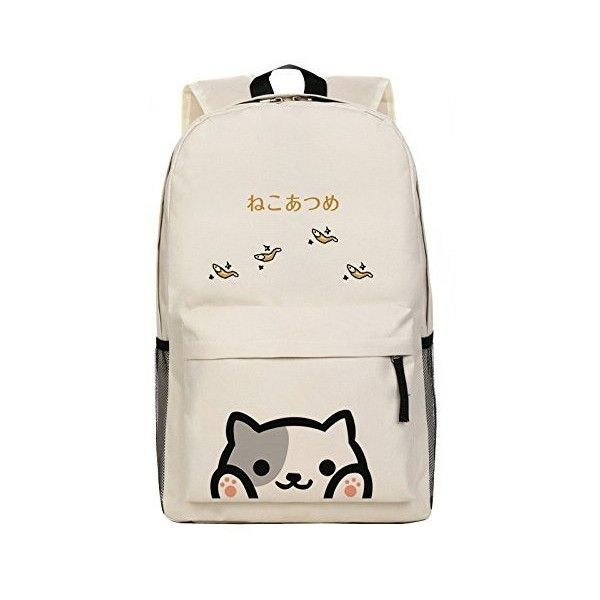 Japanese Game Neko Atsume ねこあつめ Cute Cat Backyard kitty collector... ($27) ❤ liked on Polyvore featuring bags, backpacks, rucksack bag, day pack backpack, cat bag, handbags shoulder bags and pink shoulder bag