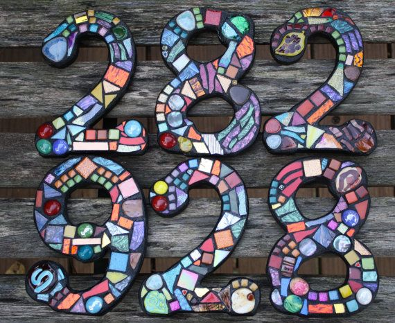 Custom Made Stained Glass Mosaic House Numbers - Wild Funky Colors and Shapes. $24.00, via Etsy.