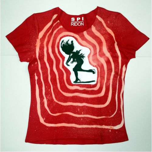 code 0230 ladies red hand painted t-shirt