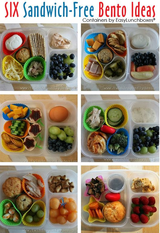 Six Sandwich Free Bento lunch ideas. Heather of Dragonfly Designs has lots of great lunch ideas HERE ►