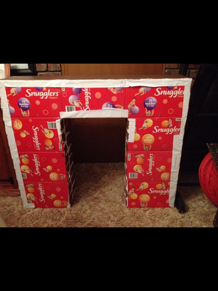 Fireplace made from nappy boxes
