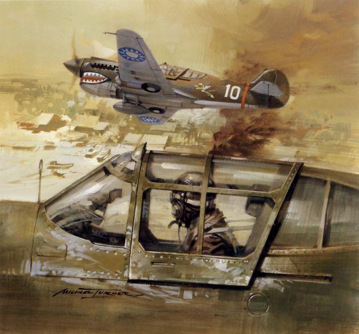 Curtiss P-40, China, tripulados por pilotos voluntarios estadounidenses (conocidos como Flying Tigers) del AVG (American Volunteer Group), en los combates mantenidos por la República China contra Japón en la 2ª Guerra Mundial