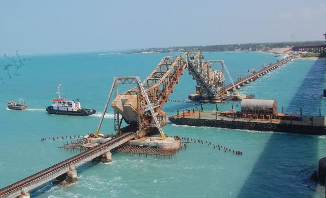 Pamban Bridge refers to both Road Bridge and Cantilever Railway Bridge.