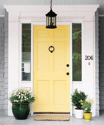 yellow front door grey