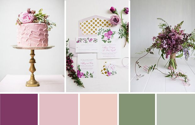 An Elegant Rustic Purple and Green Wedding Colour Palette | www.onefabday.com