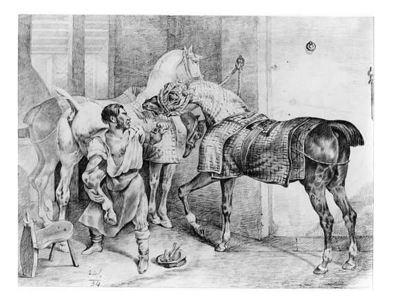"Download a digital copy of an old black crayon and graphite entitled ""Shoeing the Horse""  created around 1834 (attr.).  The numbers ""24/1/34"" are written on image in lower left.     This beautiful image shows a man holding a horse by the leg to get a show on while another horse interferes. The original size is 28 cm. x 37 cm.    It is being listed for use as wall art, note cards or ?  - Files CAN be resized using standard graphics software and there is NO restriction on use. One at 11""w x 8.5""h and one wide format at 22""w x 17"" h.  The beautiful details of the photo have been left untouched.     A great gift for the horse lover or art buff in your home.     This is perfect if you are looking for something special and different for home decor, or as a  unique present that is easy to print, frame and gift out.  After purchase, simply download and save the files on your computer or a USB drive.  You can have the wide format printing and/or framing done at a local craft store (call ahead to check on capabilities).       Our antique section contains old and interesting artwork and Antique Replica Images that can be used for many purposes.  We can help you create a unique piece that you will use for years to come. The best part is - there are no restrictions...They can be reprinted over and over and can be edited for use with most basic graphics software. This image can be made smaller for use in different crafting projects as well.    All images are tested before they are distributed.  Remember - file can be used as many times as you wish.     Please note...  There are NO returns once a file(s) is downloaded - If there are any issues after you download the file - please convo me.  Once your order is placed and completed - Etsy will give you the link to the file package and you may download from there.     Please check out my other offerings for printable images of all types as they are added to the store 