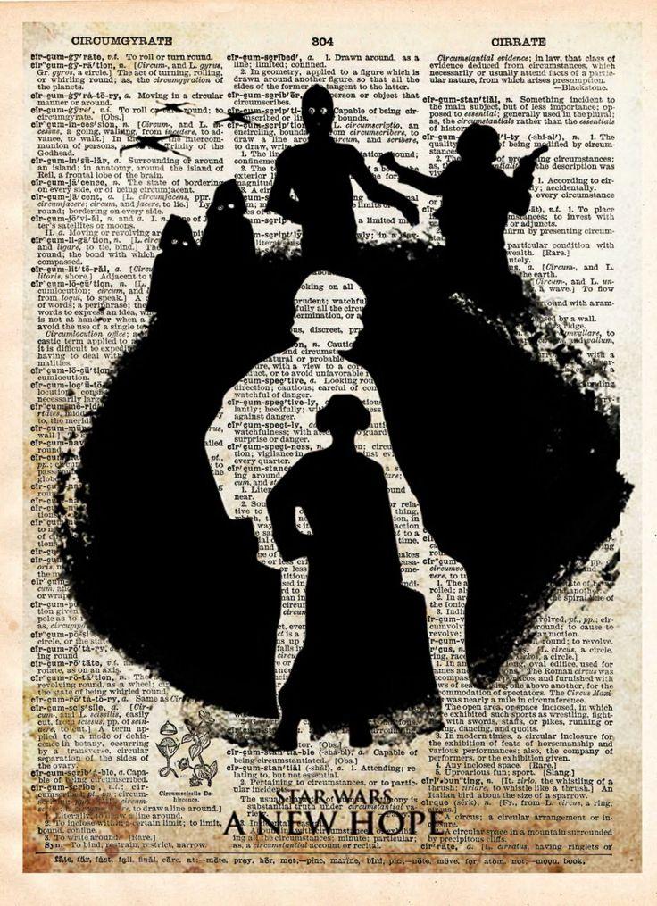 Star wars art print, star wars silhouette, vintage star wars art, dictionary print