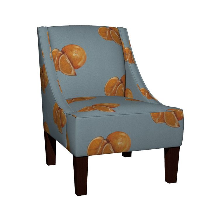 Venda Sloped Arm Chair featuring Duck Egg and Oranges by traceyharveydesigns | Roostery Home Decor