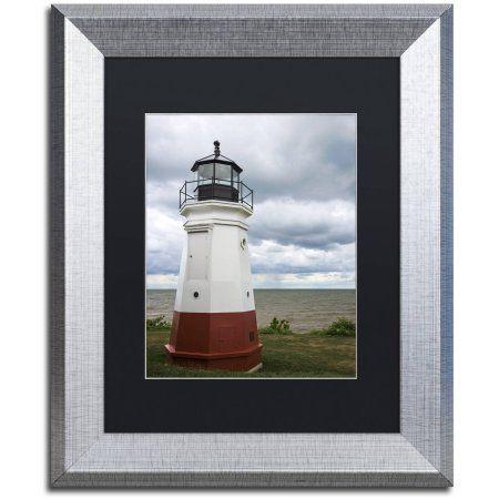 Trademark Fine Art Vermillion Ohio Lighthouse Canvas Art by Kurt Shaffer, Black Matte, Silver Frame, Size: 11 x 14, Red