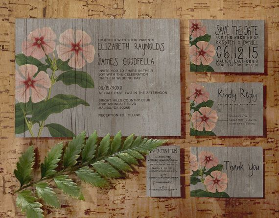 Rustic Periwinkle Wedding Invitation Set/Suite by InvitationSnob
