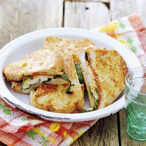 Fried mozzarella sandwiches
