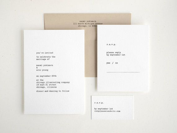 Typewriter Letterpress Wedding Invitation Hand by seabornpress