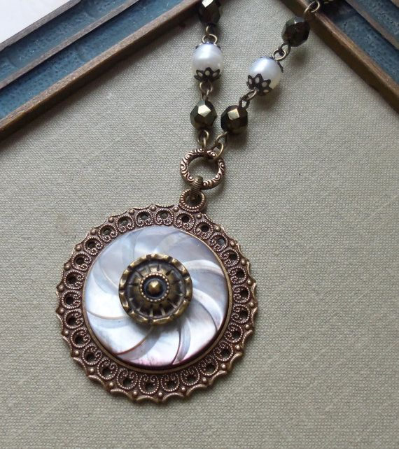 Antique Mother of Pearl Button Necklace with by TimelessTrinkets, $38.00