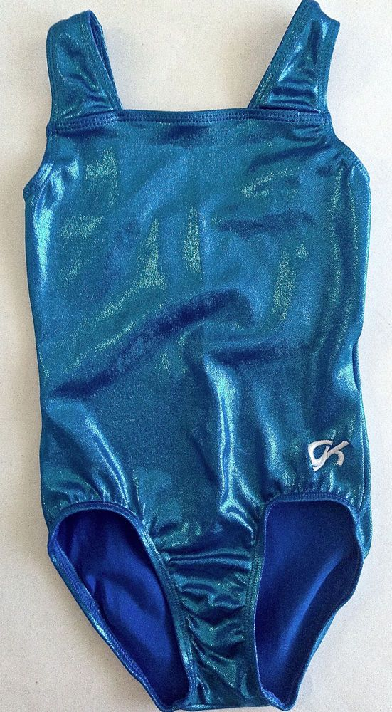 GK ELITE Metallic Leotard For Gymnastics Dance Ballet  Girls Size Medium Aqua #GKElite