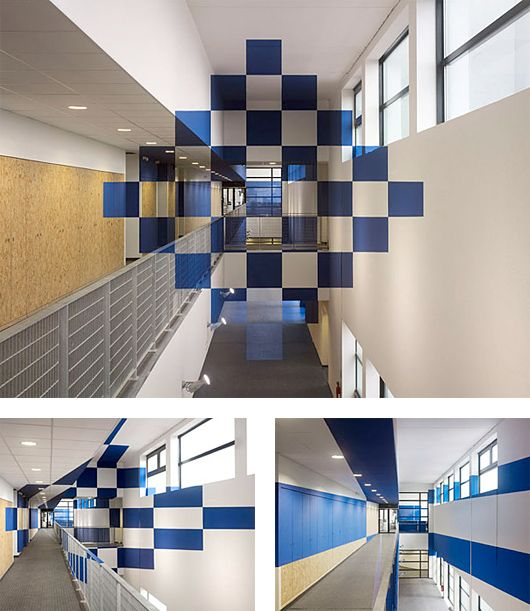 """Fantastic """"anamorphic illusion"""" artworks by Swiss artist Felice Varini.    Varini has been creating illusions of flat graphics superimposed on three-dimensional spaces since 1979 using the eye-deceiving technique called anamorphosis, which requires the viewer to occupy a specific vantage point to reconstitute the image."""