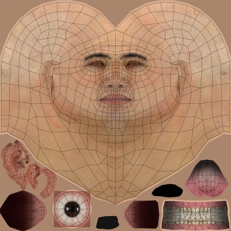 Low polygon chinese man head texture and uv