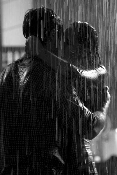 ✔️in the rain---got a kiss in the rain! April/May 2014 with Ron. We were caught in a sudden (hail)storm on the way back from a walk to Sunrise Bagels to take advantage of the nice day! Hahaha