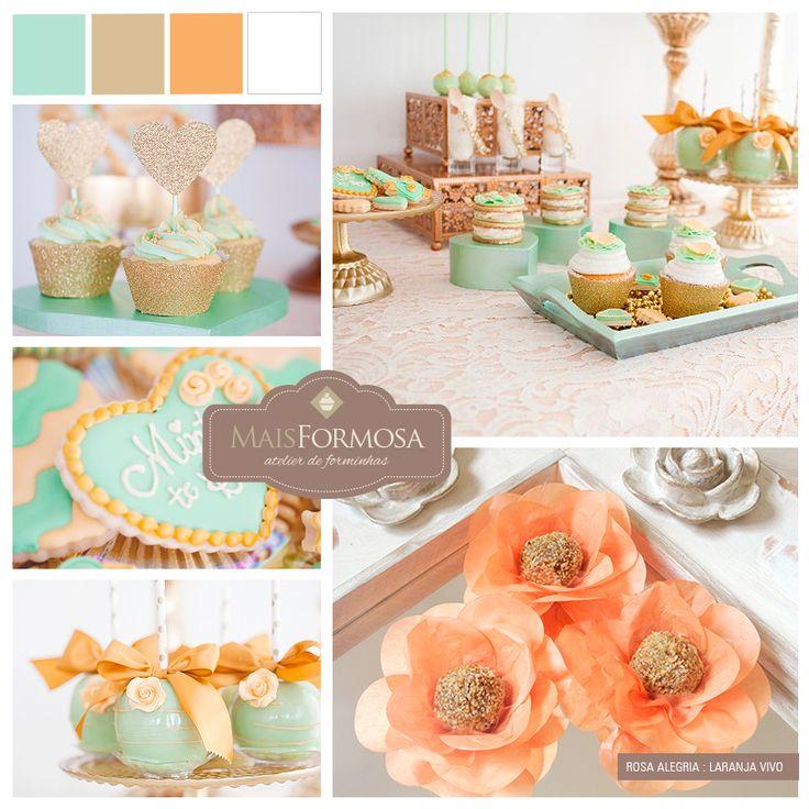 Sugestão de Cores : Decoração CHÁ DE CASA NOVA / PANELA (verde água, dourado, laranja e branco)  LOJA VIRTUAL - http://www.elo7.com.br/rosa-alegria-laranja-ra00-50-un/dp/4623C2