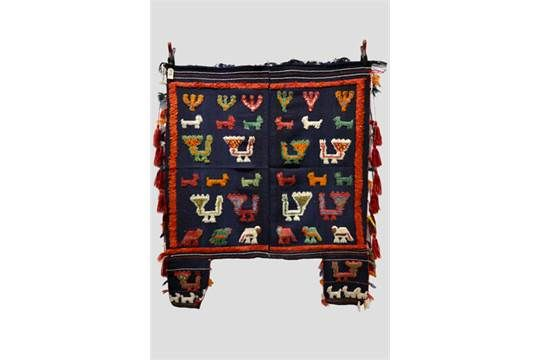 Gabbeh part piled horse blanket, Fars, south west Persia, second half 20th century, 4ft. 1in. x 4