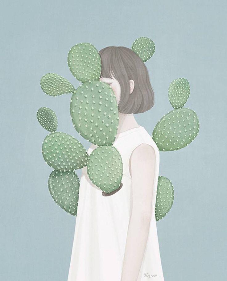 Conhecida como Ensee, a artista coreana Choi Mi Kyung cria ilustrações digitais em tons pasteis retratando garotas com olhos fechados ou semiabertos entre flores e cactos. A abordagem visual é incrivelmente delicada e o resultado é lindo.