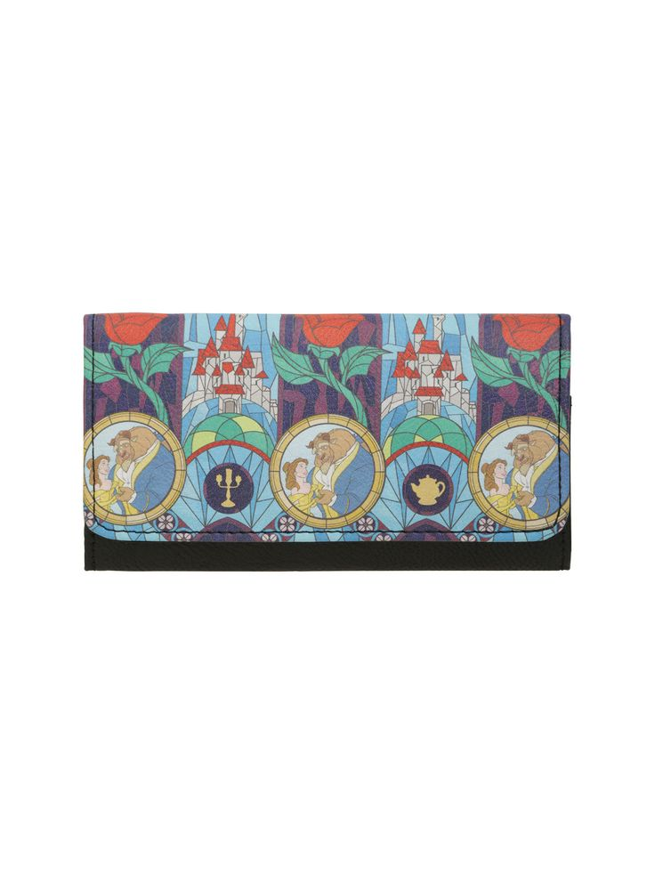"""Keep your cards and cash safe with the magic of  Beauty and the Beast . This tri-fold wallet has a stained glass design, 13 card slots and multiple cash slots.   6 1/2"""" x 3 1/2""""  Polyurethane  Imported"""