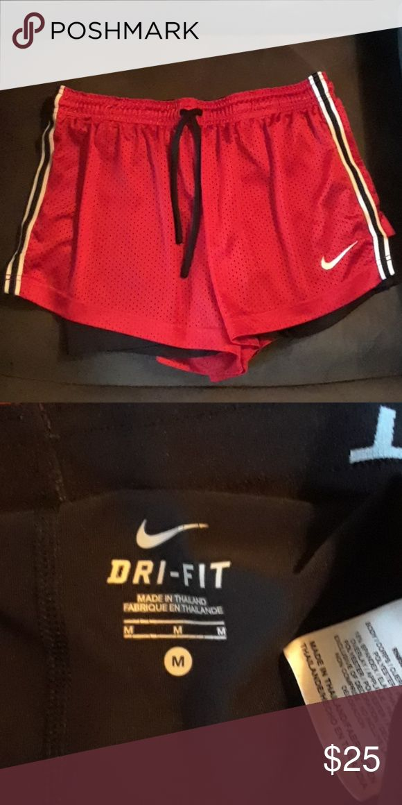 NEW LISTING Nike PRO Adorable Nike PRO Combat shorts, size medium. Red jersey maternal with black fitted shorts underneath. Nike Shorts