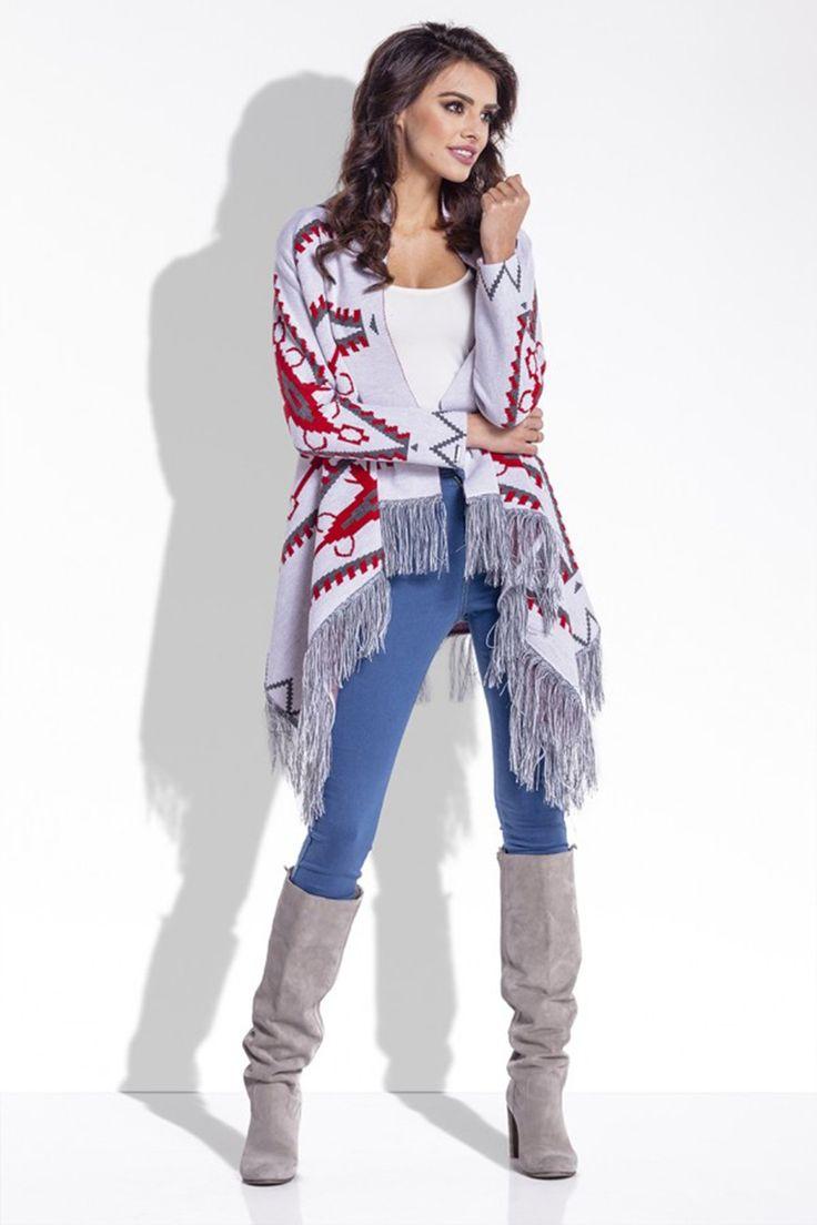 Cardigan de dama alb casual cu print aztec,supradimensionat,franjurat si cu maneci lungi,perfect pentru zilele racoroase.  #cardiganedama #cardiganaztec #cardigantricotat