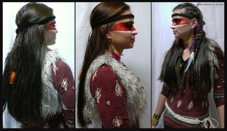 indiánský učes a make-up