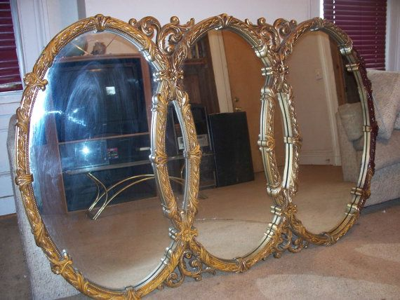 Vintage Large Gold Mirror Rococo Style By Bassett