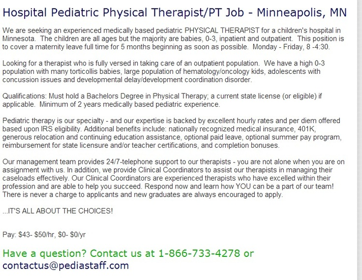 Best 25+ Childrenu0027s hospital minneapolis ideas on Pinterest - physical therapist job description