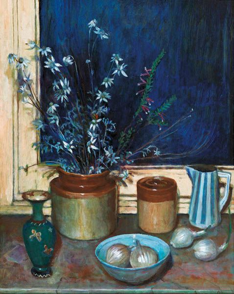 MARGARET OLLEY (1923-2011) , Still Life, Flannel Flowers and Onions, c1976 oil on board, 75.0 x 59.5 cm,  signed lower right: Olley