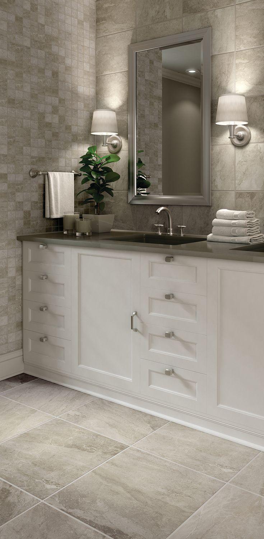 Cenere Fog 10x14 Wall Tile And Cenere Fog 2x2 Mosaic On The Wall Small Bathroom Stone Floor Bathroom Bathrooms Remodel